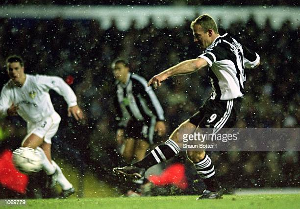 Alan Shearer of Newcastle United scores from the penalty spot during the FA Barclaycard Premiership match against Leeds United played at Elland Road...