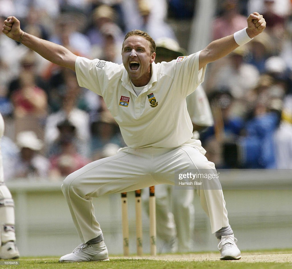 Allan Donald of South Africa celebrates after taking the wicket of Justin Langer of Australia caught by Lance Klusener for 85 during day three of the...