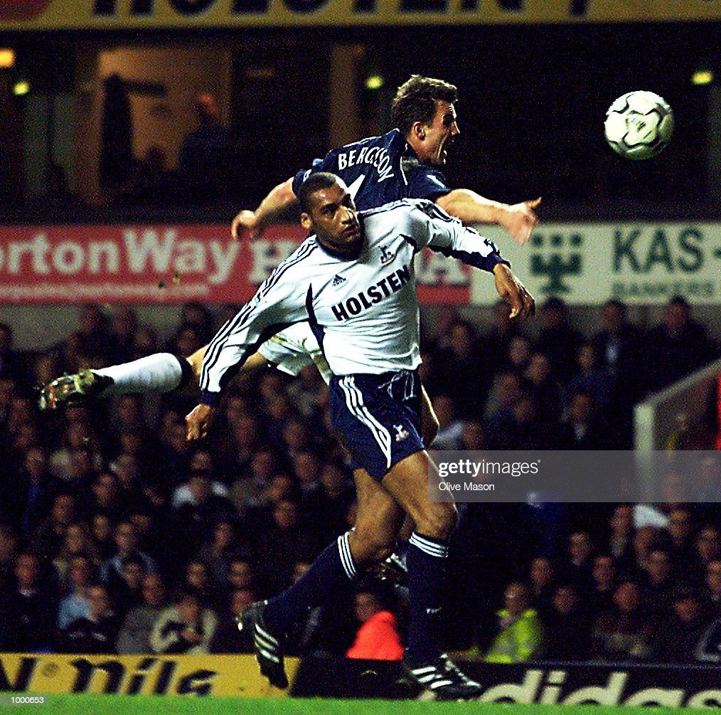 Bolton captain Gudni Bergsson is challenged by Dean Richards of Tottenham Hotspur during the FA Barclaycard Premiership match between Tottenham Hotspur and Bolton Wanderers at White Hart Lane, London. DIGITAL IMAGE. Mandatory Credit: Clive Mason/ALLSPORT