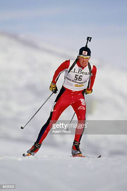 Brian Olsen56 skiis on the biathlon course at Soldier Hollow during the Gold Cup Classic at Heber City Utah Mandatory Credit Adam Pretty/Getty Images