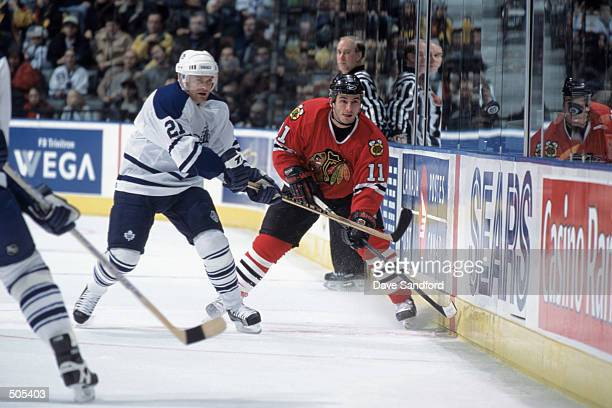 Center Peter White of the Chicago Blackhawks eyes the airborne puck against center Robert Reichel of the Toronto Maple Leafs during the NHL game at...