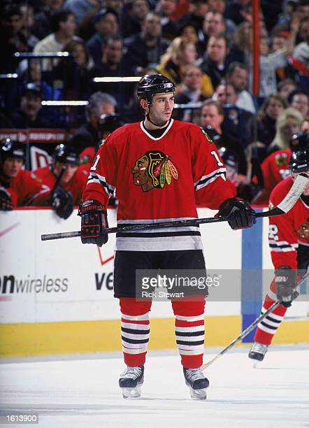 Center Peter White of the Chicago Blackhawks skates on the ice during the NHL game against the Buffalo Sabres at the HSBC Arena in Buffalo New York...