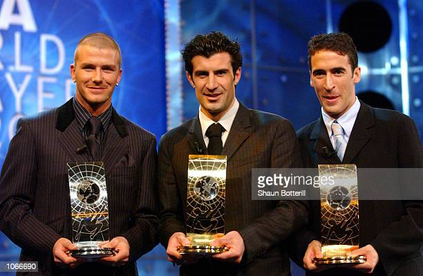 David Beckham of Manchester United Luis Figo of Real Madrid and Raul of Real Madrid at the FIFA World Player of the Year Awards in Zurich Switzerland...