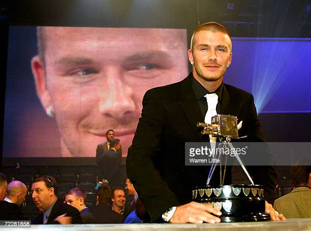 David Beckham with the BBC Sport Personality for the Year Award at the BBC Television Centre London DIGITAL IMAGE Mandatory Credit Warren...