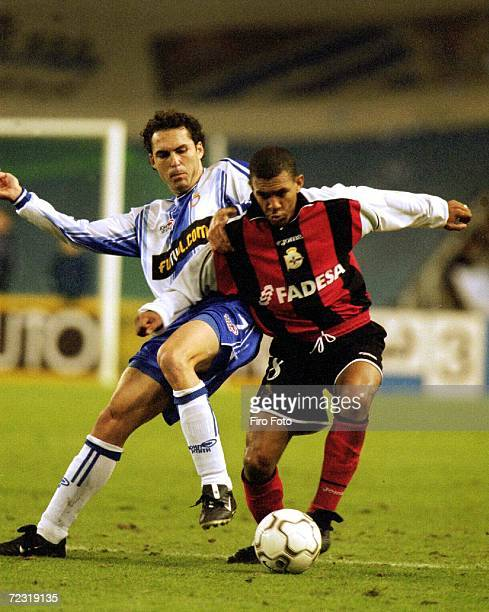 Djalminha of Deportivo La Coruna and Toni Velamaz of Espanyol in action during the Primera Liga match between Espanyol and Deportivo La Coruna played...