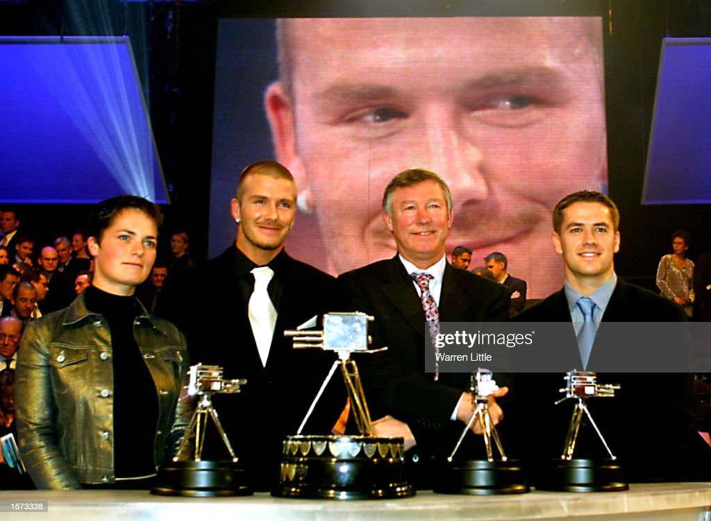 Ellen MacArthur David Beckham Alex Ferguson and Michael Owen with their awards at the BBC Sport Personality for the Year Awards at the BBC Television...