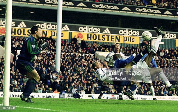 Finidi George scores for Ipswich Town with an over head kick during the FA Barclaycard Premiership match against Tottenham Hotspur at White Hart Lane...
