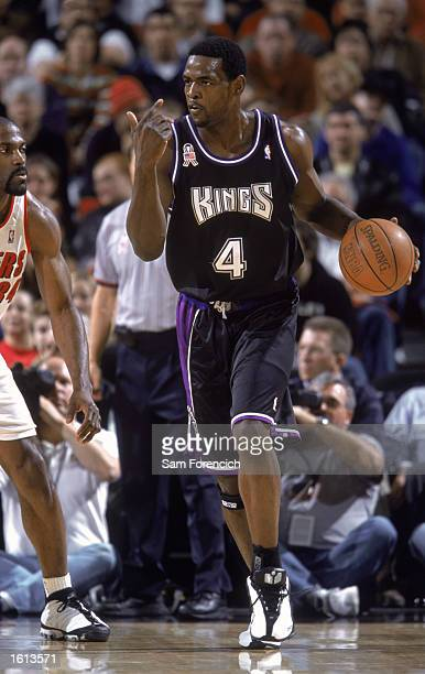 Forward Chris Webber of Sacramento Kings dribbles the ball during the NBA game against the Portland Trail Blazers at the Rose Garden in Portland...