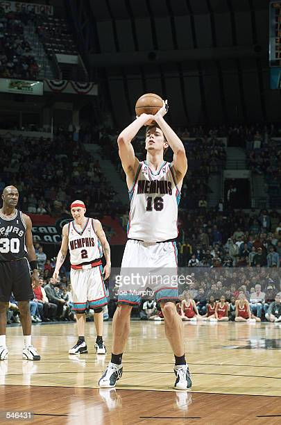 Forward Pau Gasol of the Memphis Grizzlies shoots a free throw during the NBA game against the San Antonio Spurs at the Pyramid Arena in Memphis...
