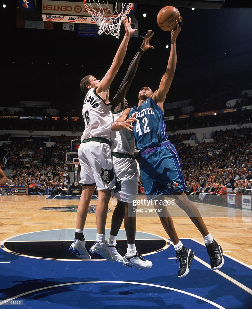 P J Brown 42 of the Charlotte Hornets shoots