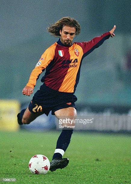 Gabriel Batistuta of Roma in action during the UEFA Champions League Group B match between Roma and Liverpool at the Stadio Olimpico in Rome Italy...