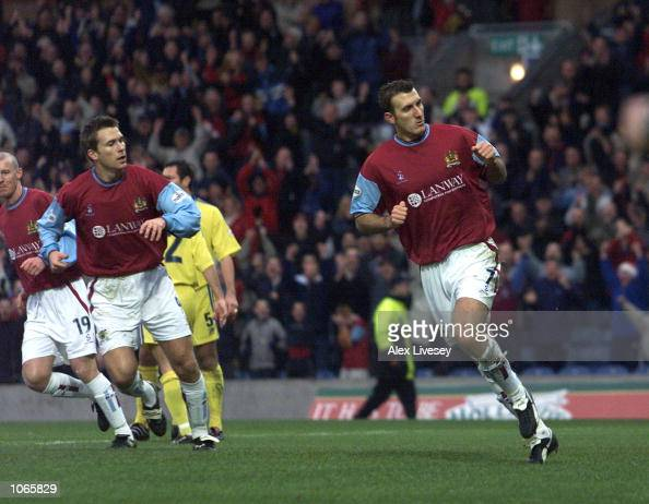 Glen Little of Burnley celebrates scoring from the penalty spot during the Nationwide First Division game between Burnley and Stockport County at...