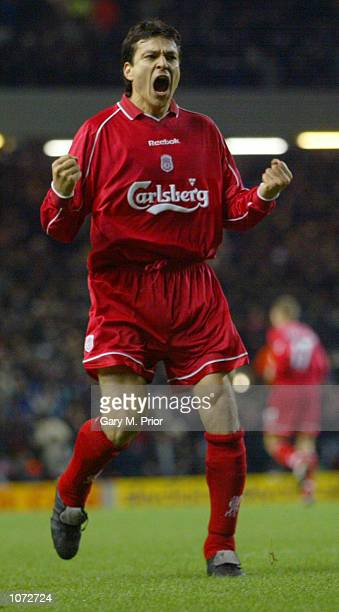 Jari Litmanen of Liverpool celebrates pulling a goal back and setting up a tense finale during the FA Barclaycard Premiership match against Arsenal...