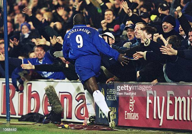 Jimmy Floyd Hasselbaink of Chelsea celebrates his goal against Liverpool in the FA Barclaycard Premiership match at Stamford Bridge in London...
