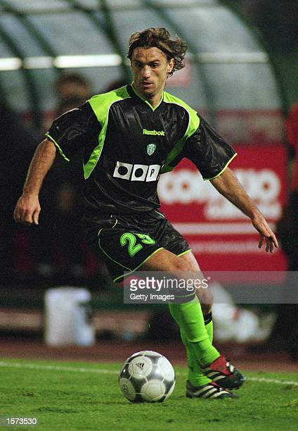 Joao Pinto of Sporting Lisbon on the ball during the UEFA Cup 3rd round 2nd leg match against AC Milan at the Jose Alvalade Stadium in Lisbon...