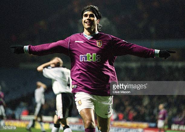 Juan Pablo Angel of Aston Villa celebrates his goal during the FA Barclaycard Premiership match against Ipswich Town at Villa Park in Birmingham...