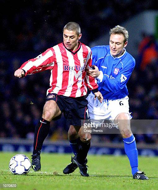 Kevin Phillips of Sunderland holds of Mark Venus of Ipswich during the FA Barclaycard Premiership match between Ipswich Town and Sunderland at...
