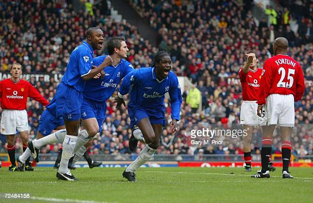 Mario Melchiot of Chelsea celebrates after scoring the first goal during the Manchester United v Chelsea FA Barclaycard Premiership match at Old...