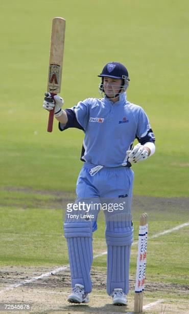 Michael Clarke of the Blues acknowledges the applause on reaching his 50 in the match between the New South Wales Blues and the South Australian...
