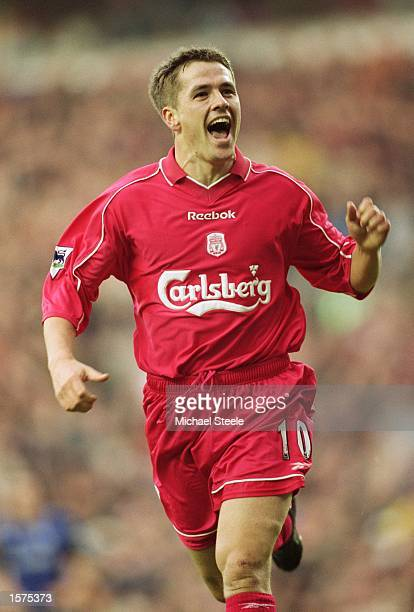 Michael Owen of Liverpool celebrates scoring the opening goal of the match during the FA Barclaycard Premiership match against Middlesbrough played...