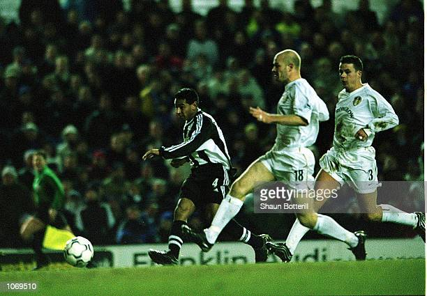 Nolberto Solano of Newcastle scores a goal during the FA Barclaycard Premiership match between Leeds United and Newcastle United at Elland Road Leeds...