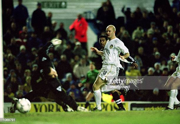 Nolberto Solano of Newcastle United scores the winning goal during the FA Barclaycard Premiership match against Leeds United played at Elland Road in...