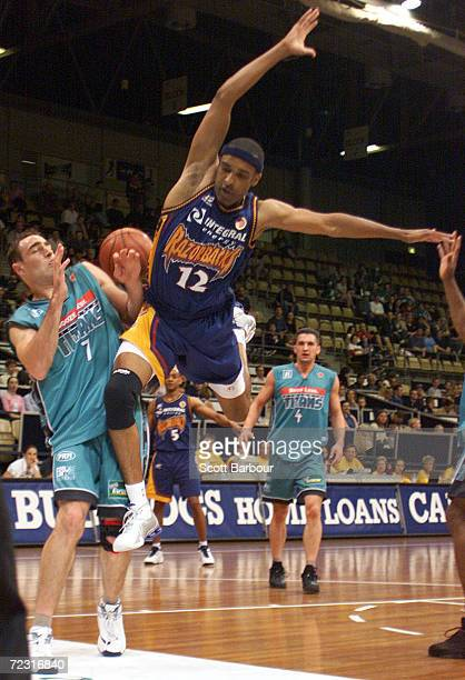 Philip Handy of the Razorbacks crashes into Darren Smith of the Titans during the West Sydney Razorbacks v Victoria Titans NBL match held at the...