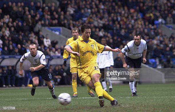 Robbie Fowler of Leeds United misses a penalty during the FA Barclaycard Premiership match between Bolton Wanderes and Leeds at the Reebok Stadium in...