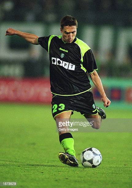 Rui Jorge of Sporting Lisbon on the ball during the UEFA Cup 3rd round 2nd leg match against AC Milan at the Jose Alvalade Stadium in Lisbon Portugal...