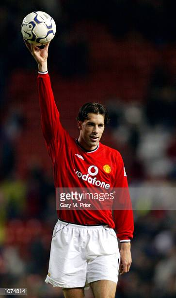 Ruud van Nistelrooy of Manchester United celebrates scoring a hattrick during the FA Barclaycard Premiership match against Southampton played at Old...