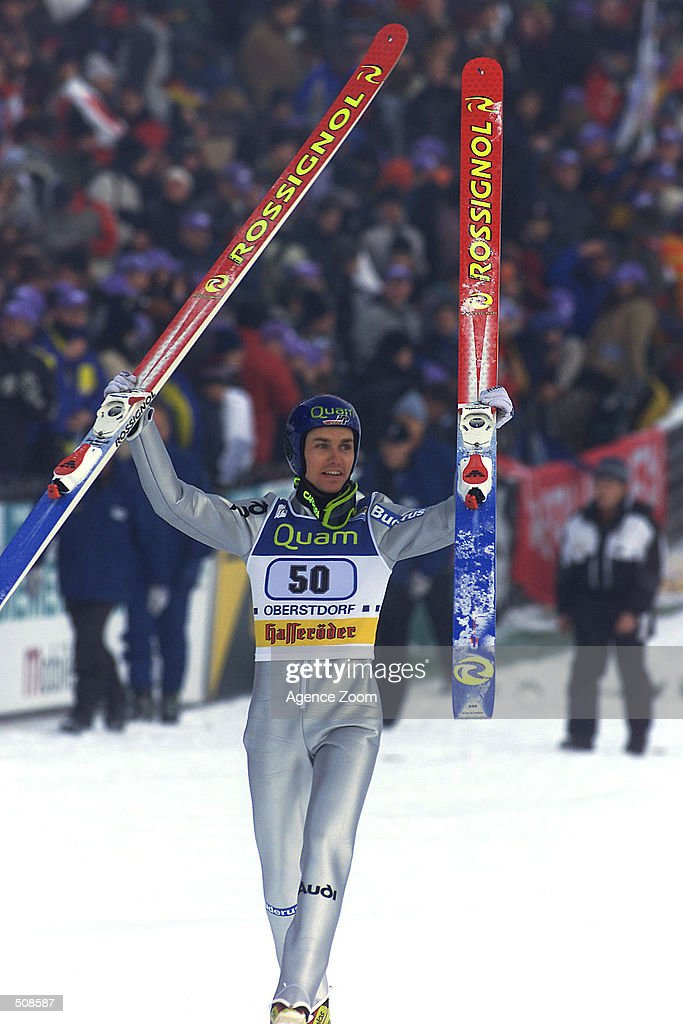 Sven Hannawald of Germany wins the ski jumping competition in Oberstdorf, Germany.Mandatory Credit: Zoom Agence/Getty Images
