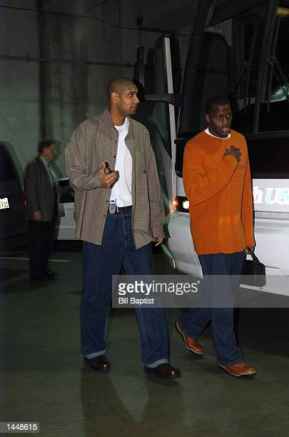 Tim Duncan and Antonio Daniels of the San Antonio Spurs arrives at the Compaq Center in Houston Texas for the game against the Houston Rockets...