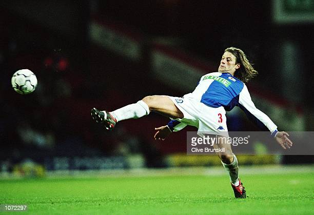 Tugay of Blackburn Rovers stretches for the ball during the FA Barclaycard Premiership match against Derby County played at Ewood Park in Blackburn...