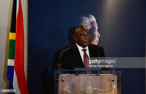 JOHANNESBURG Dec 5 2016 South African Vice President Cyril Ramaphosa speaks during an event commemorating the third anniversary of former South...