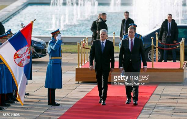 BELGRADE Dec 6 2017 Serbian President Aleksandar Vucic reviews guards of honour with Dragan Covic Chairman of the Presidency of Bosnia and...