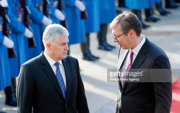 BELGRADE Dec 6 2017 Serbian President Aleksandar Vucic speaks with Dragan Covic Chairman of the Presidency of Bosnia and Herzegovina during a...