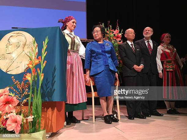STOCKHOLM Dec 7 2015 The 2015 Nobel Prize laureates for Physiology or Medicine Satoshi Omura center William C Campbell second right and Tu Youyou...