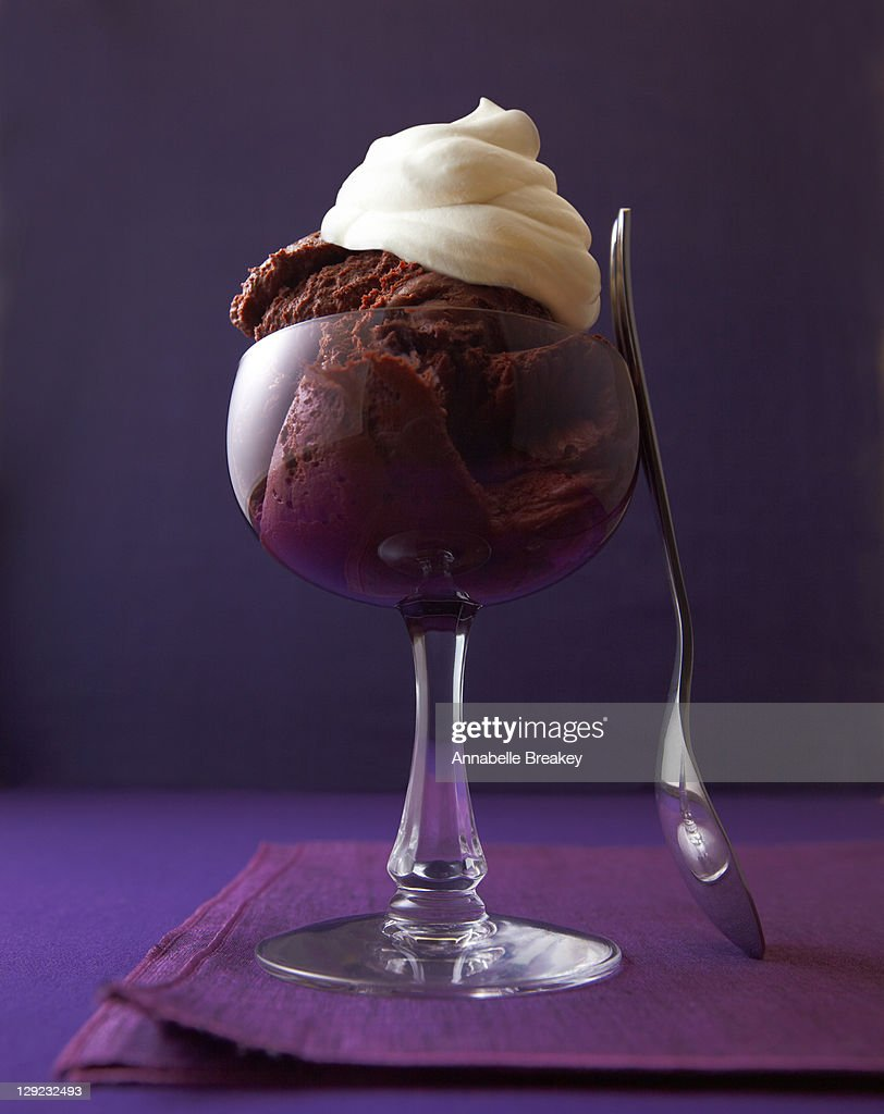 DEcadent chocolate mousse with whipped cream : Stock Photo
