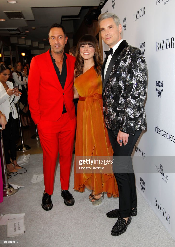 Decades co-founders Christos Garkinos, actress Sophia Bush and Founder of Decades, Cameron Silver attend the Dukes Of Melrose launch hosted by Decades, Harper's BAZAAR, and MCM on February 28, 2013 in Los Angeles, California.