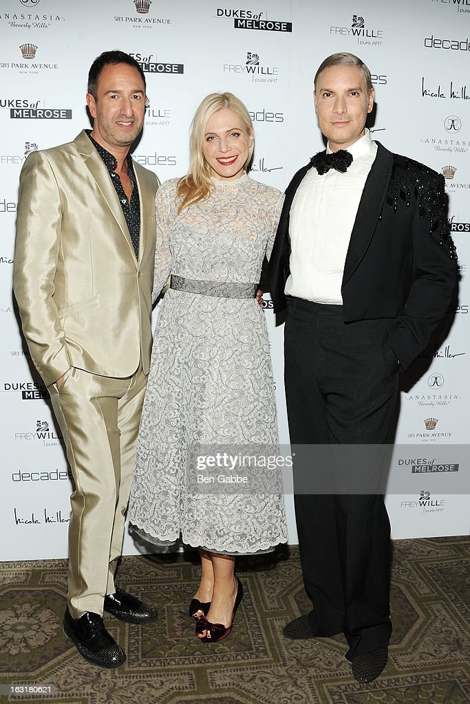 Decades co-owner Christos Garinkos, Stylist/fashion designer Annabel Tollman and Decades founder <a gi-track='captionPersonalityLinkClicked' href=/galleries/search?phrase=Cameron+Silver&family=editorial&specificpeople=546426 ng-click='$event.stopPropagation()'>Cameron Silver</a> attend the 'Dukes Of Melrose' Premiere at 583 Park Avenue on March 5, 2013 in New York City.