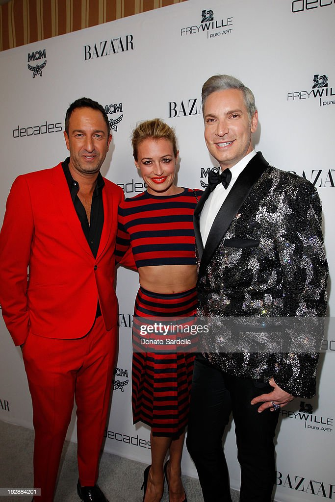 Decades co-owner Christos Garkinos, actress Cat Deeley and Decades Founder Cameron Silver attend the Dukes Of Melrose launch hosted by Decades, Harper's BAZAAR, and MCM on February 28, 2013 in Los Angeles, California.