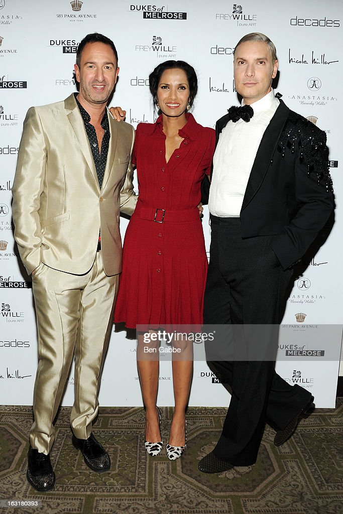 Decades co-owner Christos Garkinos, Actress/ TV host <a gi-track='captionPersonalityLinkClicked' href=/galleries/search?phrase=Padma+Lakshmi&family=editorial&specificpeople=201593 ng-click='$event.stopPropagation()'>Padma Lakshmi</a> and Decades founder <a gi-track='captionPersonalityLinkClicked' href=/galleries/search?phrase=Cameron+Silver&family=editorial&specificpeople=546426 ng-click='$event.stopPropagation()'>Cameron Silver</a> attend the 'Dukes Of Melrose' Premiere at 583 Park Avenue on March 5, 2013 in New York City.
