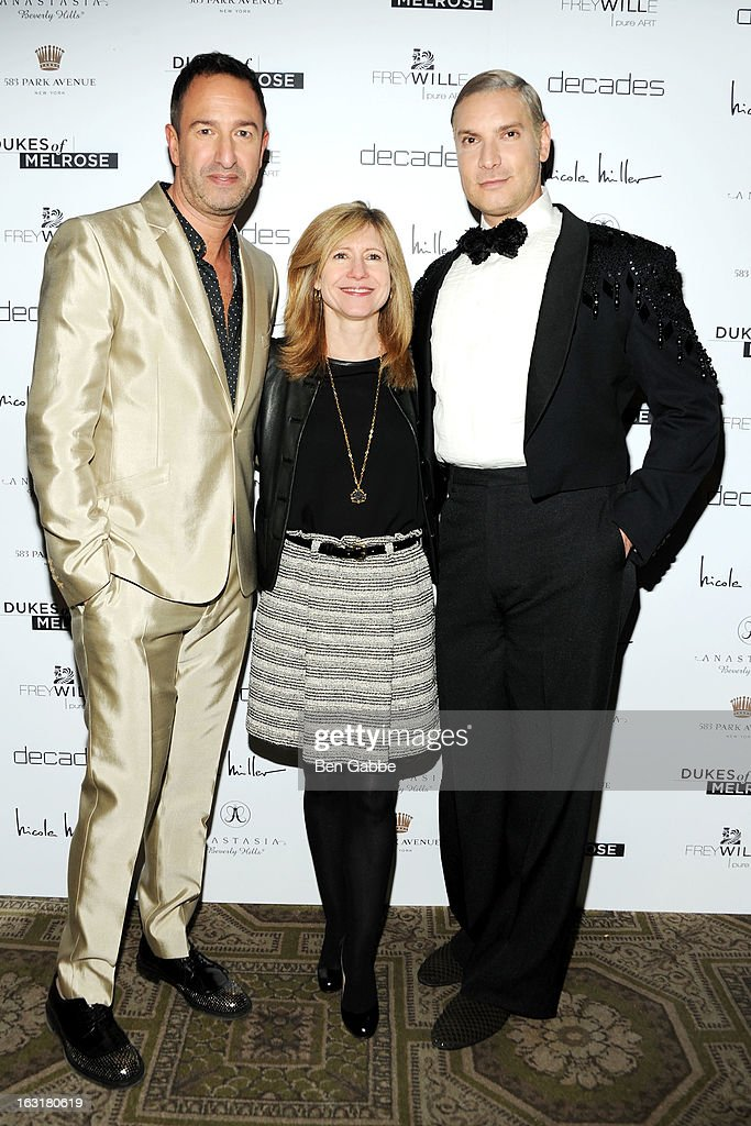 Decades co-owner Christos Garkinos, Bravo president Frances Berwick and Decades founder <a gi-track='captionPersonalityLinkClicked' href=/galleries/search?phrase=Cameron+Silver&family=editorial&specificpeople=546426 ng-click='$event.stopPropagation()'>Cameron Silver</a> attend the 'Dukes Of Melrose' Premiere at 583 Park Avenue on March 5, 2013 in New York City.