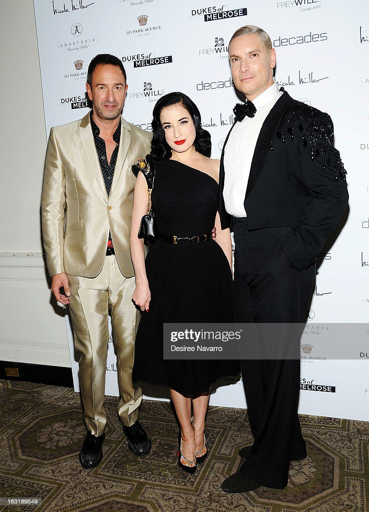 Decades Co-Owner Christos Garkinos, <a gi-track='captionPersonalityLinkClicked' href=/galleries/search?phrase=Dita+Von+Teese&family=editorial&specificpeople=210578 ng-click='$event.stopPropagation()'>Dita Von Teese</a> and Decades Founder <a gi-track='captionPersonalityLinkClicked' href=/galleries/search?phrase=Cameron+Silver&family=editorial&specificpeople=546426 ng-click='$event.stopPropagation()'>Cameron Silver</a> attend the 'Dukes Of Melrose' Premiere at 583 Park Avenue on March 5, 2013 in New York City.