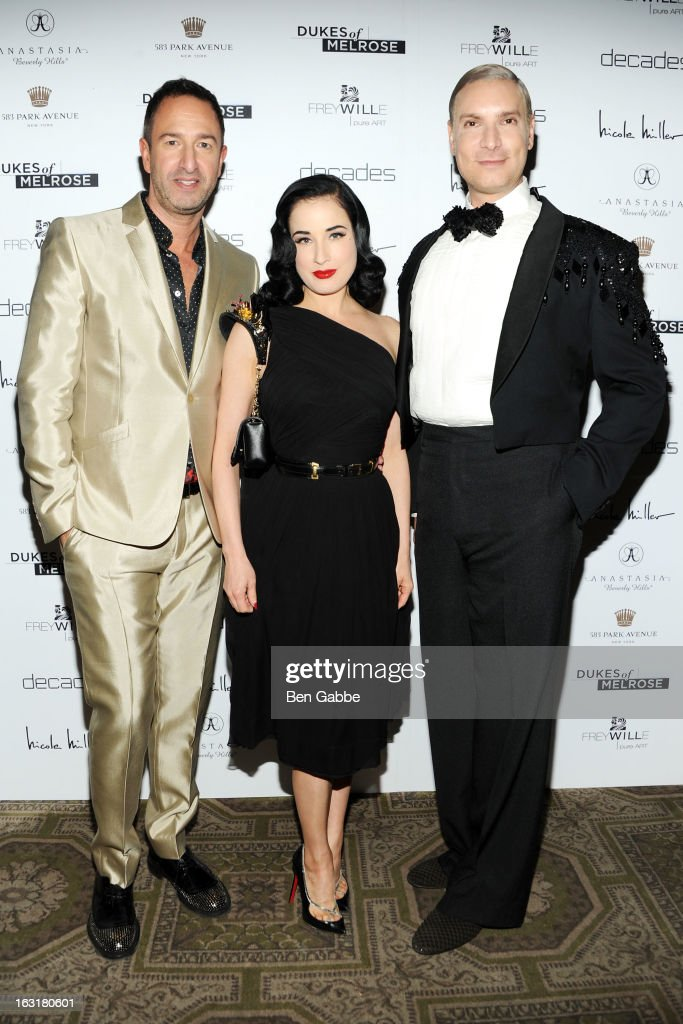 Decades co-owner Christos Garkinos, Entertainer <a gi-track='captionPersonalityLinkClicked' href=/galleries/search?phrase=Dita+Von+Teese&family=editorial&specificpeople=210578 ng-click='$event.stopPropagation()'>Dita Von Teese</a> and Decades founder <a gi-track='captionPersonalityLinkClicked' href=/galleries/search?phrase=Cameron+Silver&family=editorial&specificpeople=546426 ng-click='$event.stopPropagation()'>Cameron Silver</a> attend the 'Dukes Of Melrose' Premiere at 583 Park Avenue on March 5, 2013 in New York City.