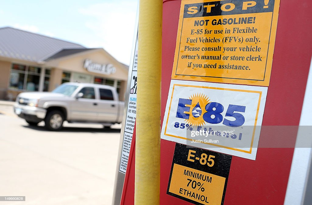 A decal advertising E85 Ethanol is displayed on a gas pump at a Kum and Go gas station on August 7, 2012 in Johnston, Iowa. An exceptionally hot summer and the worst drought in more than a half century has caused cut prospects for the U.S. corn crop to a five-year low and has sent prices up to over $8.00 a bushel in late July trading. The price surge and limited supply has also prompted ethanol plants to voluntarily slow production by 20 percent, a two year low.