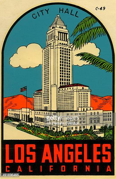 A decal for Los Angeles City Hall in California from 1952 in USA