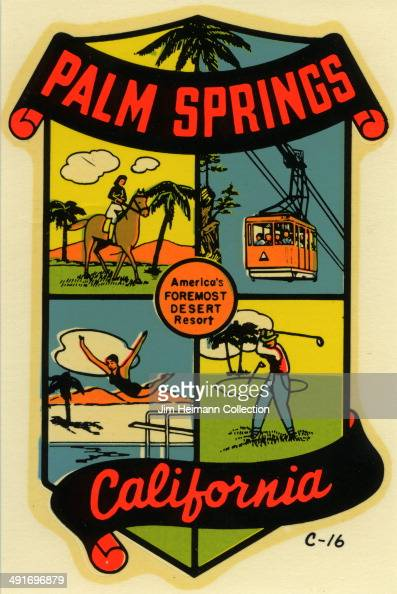A decal for Palm Springs in California reads 'America's Foremost Desert Resort' from 1965 in USA