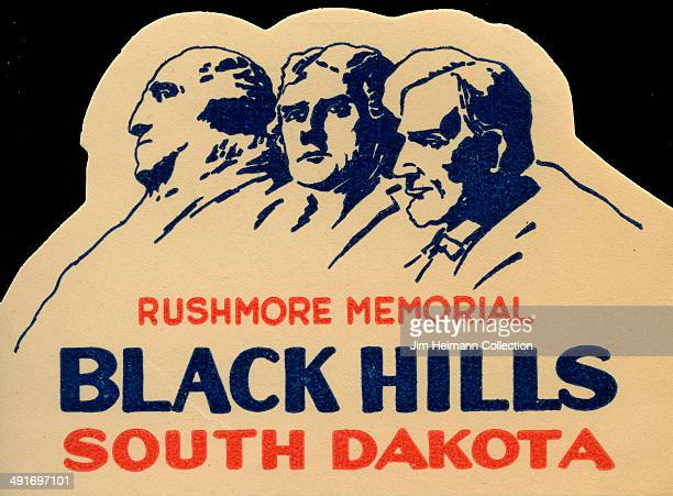 A decal for Rushmore Memorial in the Black Hills of South Dakota from 1944 in USA