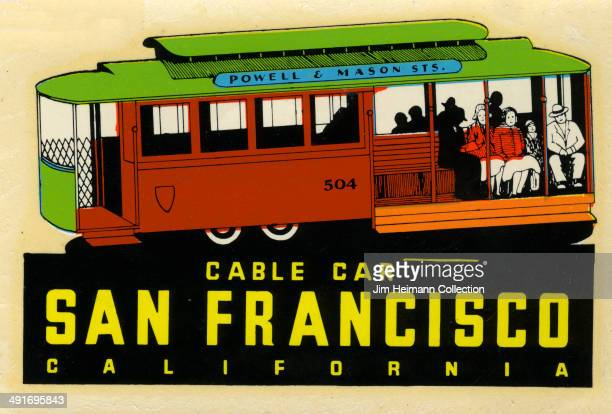 A decal of a cable car in San Francisco from 1958 in USA